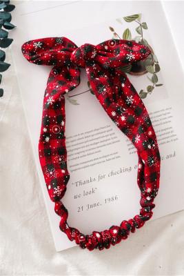Black Red Plaid  Christmas Print Bowknot Headband
