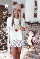 Reindeer Print Long Sleeve Christmas Suit