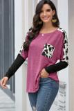 Rose Red Long Sleeve Leopard Print T-shirt