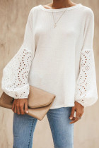 White Hollow Out Puff Sleeve Tops
