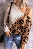 Beige Colorblock Leopard Print Turtleneck Off Shoulder Sweater