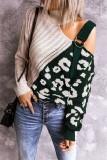Dark Green Colorblock Leopard Print Turtleneck Off Shoulder Sweater