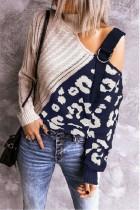Navy Colorblock Leopard Print Turtleneck Off Shoulder Sweater