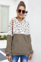 Coffee Leopard Print Stitching Long-sleeved Hooded Sweatshirt