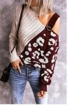 Wine Red Colorblock Leopard Print Turtleneck Off Shoulder Sweater