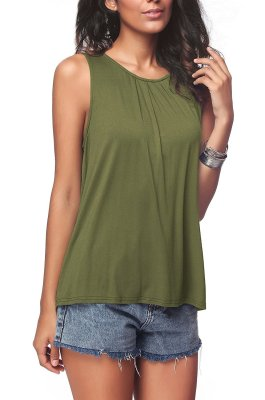 Army Green Plus Size Solid Tank Tops