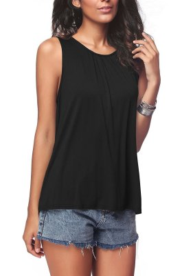 Black Plus Size Solid Tank Tops