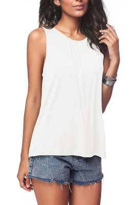 White Plus Size Solid Tank Tops
