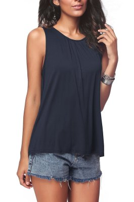 Navy Plus Size Solid Tank Tops