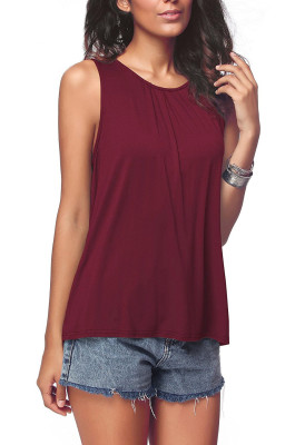 Wine Red Plus Size Solid Tank Tops