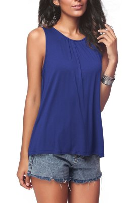 Blue Plus Size Solid Tank Tops