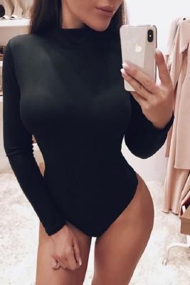 Black Knitted Long Sleeve Bottoming Bodysuit