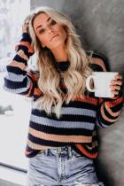 Black Striped Drop Shoulder Sweater