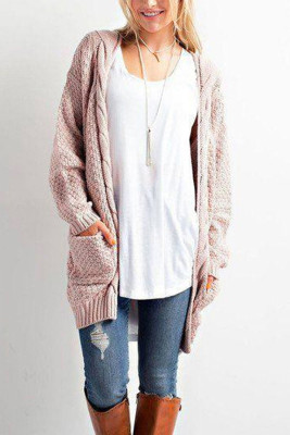 Pink Casual Knitted Sweater Cardigan