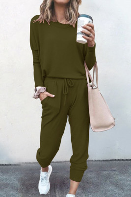 Army Green Loose Long-sleeved Casual Two Pieces Suit