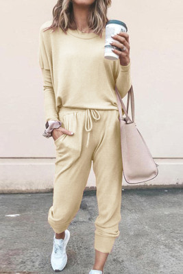 Beige Loose Long-sleeved Casual Two Pieces Suit
