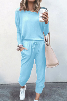 Light Blue Loose Long-sleeved Casual Two Pieces Suit