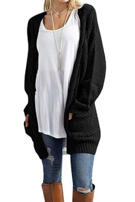 Black Casual Knitted Sweater Cardigan