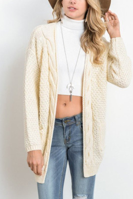 Beige Casual Knitted Sweater Cardigan