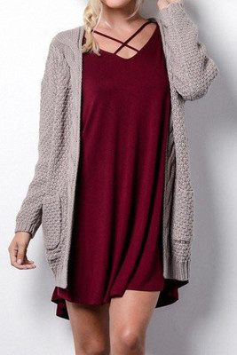 Coffee Casual Knitted Sweater Cardigan