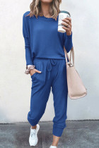Blue Loose Long-sleeved Casual Two Pieces Suit