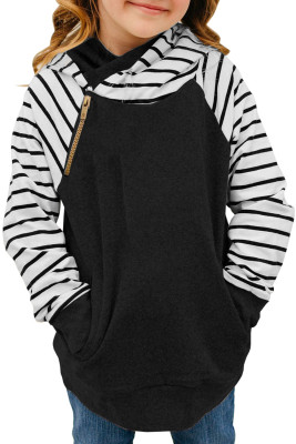 Black Stripes Splicing Diagonal Zipper Children's Hoodie