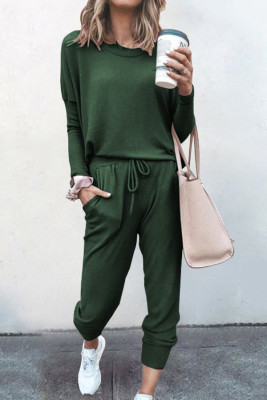 Dark Green Loose Long-sleeved Casual Two Pieces Suit