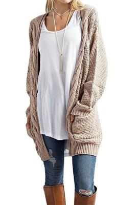 Khaki Casual Knitted Sweater Cardigan