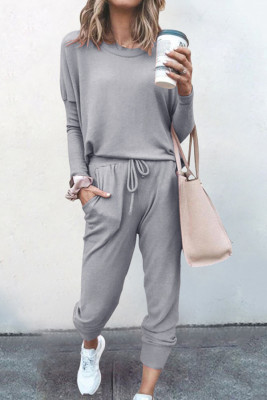 Light Grey Loose Long-sleeved Casual Two Pieces Suit