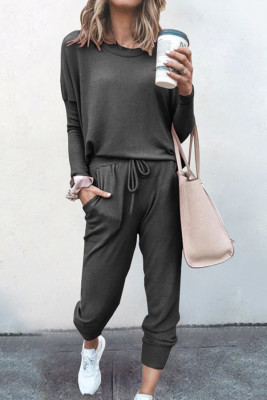 Dark Grey Loose Long-sleeved Casual Two Pieces Suit