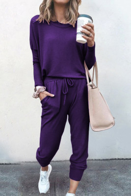 Purple Loose Long-sleeved Casual Two Pieces Suit