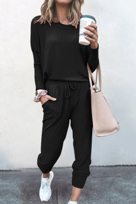 Black Loose Long-sleeved Casual Two Pieces Suit