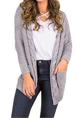 Grey Casual Knitted Sweater Cardigan