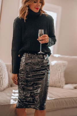Black Stretch Sequin Slit Sequin Skirt