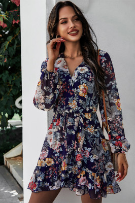 Dark Blue V Neck Chiffon Floral Dresses