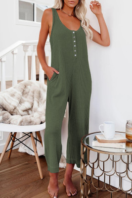 Green Pocketed Thermal Sleeveless Jumpsuit
