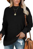 Black Patchwork Long Sleeve Pullover Sweatershirt