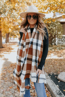 Brown Plaid Oblong Scarf