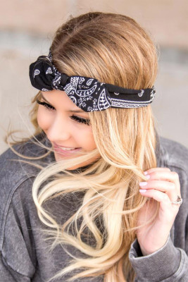 Black Floral Print Bowknot Headband