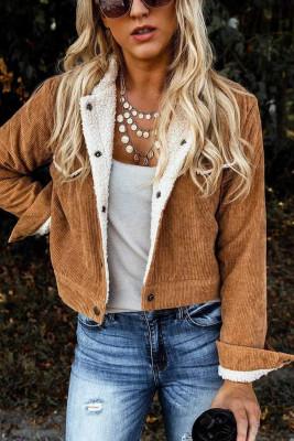 Brown Snaps Pocketed Fleece Corduroy Jacket