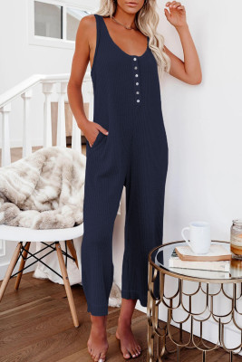 Blue Pocketed Thermal Sleeveless Jumpsuit
