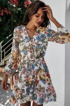 White V Neck Chiffon Floral Dresses