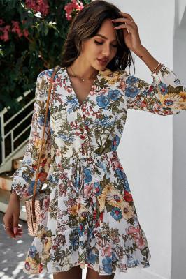 White V Neck Chiffon Floral Dresses