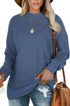 Blue Patchwork Long Sleeve Pullover Sweatershirt