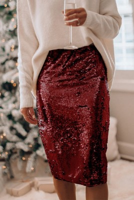 Wine Red Stretch Sequin Slit Sequin Skirt