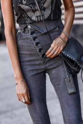 Buttoned Skinny High Waist Pencil Jeans