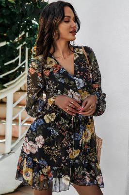 Black V Neck Chiffon Floral Dresses