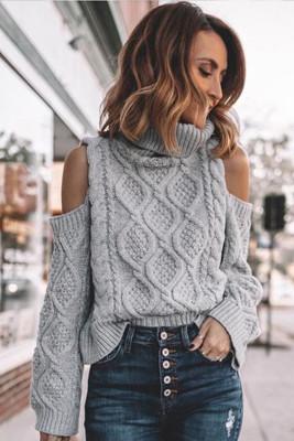 Gray Turtleneck Cold Shoulder Textured Sweater
