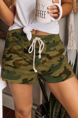 Green Camouflage Drawstring Casual Shorts