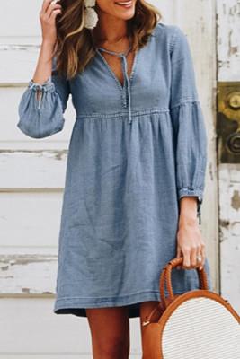 Sky Blue V-neck Lantern Sleeves Casual Mini Dress
